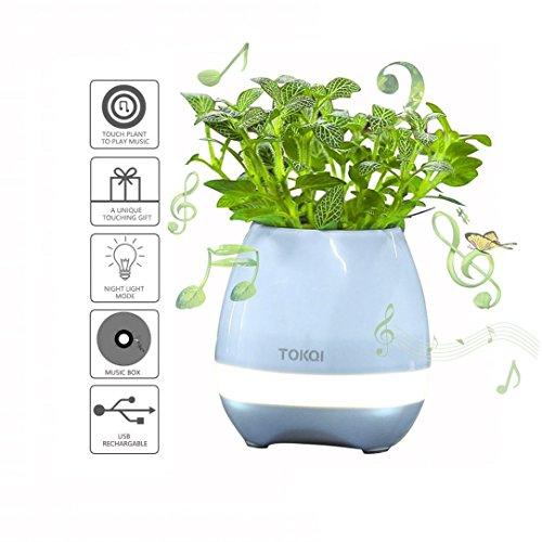 szjh Musik Blumentopf, Touch Pflanze Piano Musik Spielen Blumentopf Smart Mehrfarbig LED-Licht Blumentopf, rund Bluetooth kabelloser Lautsprecher Whitout Pflanzen, blau, 4.5*4.6*4.5inch