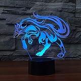 Creativo 3D Volpe Luce Notturna 7 Colori Mutevoli USB Potere Toccare Cambiare Illusione Ottica Lampada Arredamento Lampada LED Lampada da Tavolo Bambini Brithday Natale Regalo