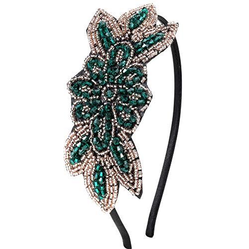 Kostüm Jahre 20er Accessoires - ArtiDeco 1920s Stirnband Damen Haarreif Gatsby Kostüm Accessoires 20er Jahre Flapper Haarband (Stil2 - Grün)