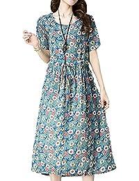 P Ammy Fashion Women s Waist Belt Floral Cotton   Linen Long Tunics Dress 5b8069f3a7f3