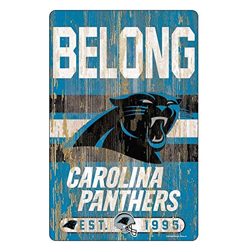 Wincraft NFL Carolina Panthers Slogan Wood Sign Holzschild