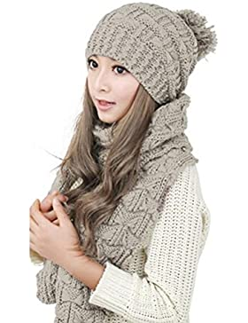 LEORX Women Winter Knitted Thicken Hat Cap and Scarf Set (Beige), [Importado de UK]