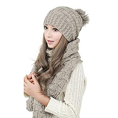 LEORX Women Girls Winter Knitted Thicken Scarf and Hat Set (Black)