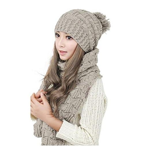 LEORX Women Girls Winter Knitted Thicken Scarf and Hat Set (Black)