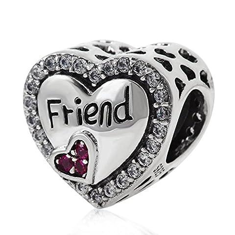 Friend Heart Charms Genuine 925 Sterling Silver Love Friend Crystal Bead Charm fit European Bracelet Necklace