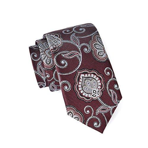 MASSI MORINO Seidenkrawatten für Herren, handgenähte Krawatte Seide in Verschiedenen Farben - schmale 6,5 cm Slim Fit Herrenkrawatte (Paisley Weinrot)