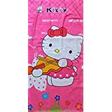 Shopkooky Towels For Kids 100% Cotton Full Size Super Soft Luxury Towels Cartoon Character Printed Silky Material For Face Body Quick Dry Long Durability (Hello_kitty)