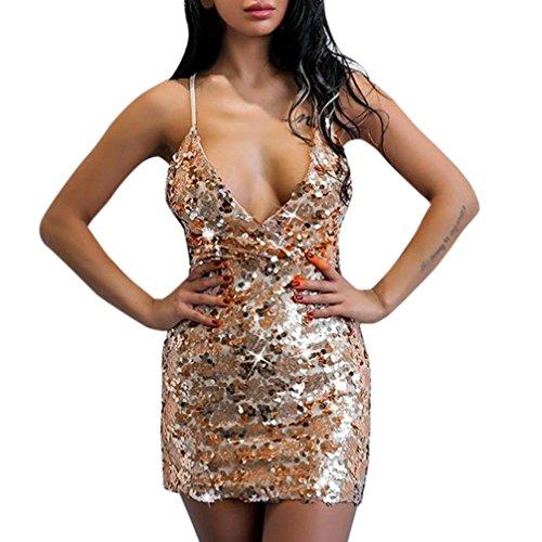 Longra Damen V-Ausschnitt Pailletten Kleider Bodycon Clubwear Minikleid Kruz Spaghetti Strap Kleid...