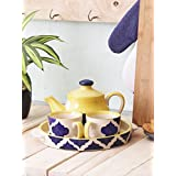 Miah Décor Tea Set Ceramic Handcrafted Cups & Kettle Gift Set Of 2 Ceramic Cups, (1 Ceramic Kettle And 1 Tray)
