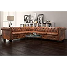 05e5b8a7c40ff7 vidaXL Canapé d angle Chesterfield 6 Places Cuir artificiel Marron