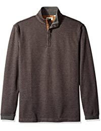 Haggar Men's Long Sleeve Houndstooth Quarter Zip Knit with Faux Suede Trim