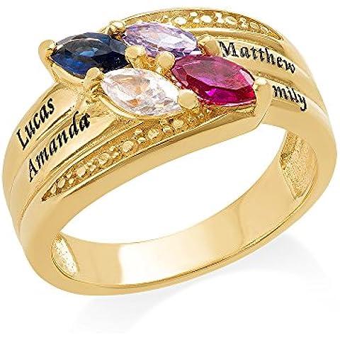 Placcato oro madri anello con pietra–Personalizzabile & Custom Made