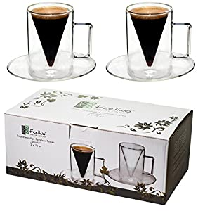 "2x 70 ml Double-Walled Pointed Glass Cups ""Straight"" with Handle and Saucer – Modern, Stylish and Elegant for Your Espresso – Protected Brand Design in a Lovely Presentation Box, Great as a Gift – Spikey by Feelino"