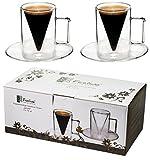 """'Feelino (R) Spikey (R)-Set di tazzine da caffè in vetro """""""" a doppia parete """"dritto da 70ML Vol. (bordo) in unico esclusivo a punta di vetro marca designIdeale per privati, gastronomia o bevande come regalo e per i seguenti:Espresso o tè t..."""