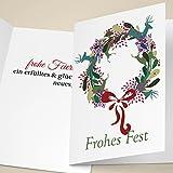 20er Set Edle Unternehmen Weihnachtskarten mit Hirsch Weihnachts Kranz, mit ihrem Innentext (Var10) drucken lassen, als geschäftliche Weihnachtsgrüße für Firmen Kunden und Mitarbeiterr: Frohes Fest