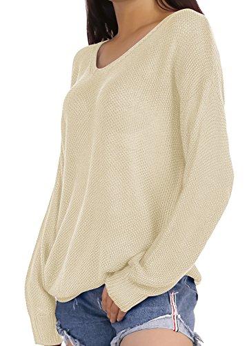HENCY Damen Lose Pullover Langarm Strickpullover Pulli Sweater Übergröße V Ausschnitt Herbst Winter Beige