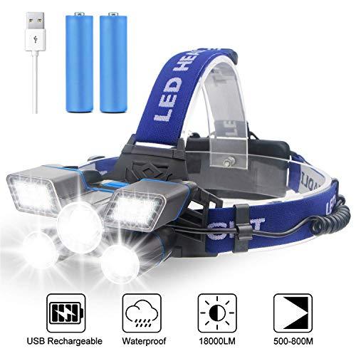Soft Digits Stirnlampe LED, 5 Lampen 21 LED 9 Modi 18000 Lumen Super hell USB Wiederaufladbare Kopflampe, Stirnlampe LED Wasserdicht für Camping Angeln Joggen Lesen Arbeiten