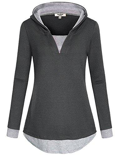 Anna Smith Langarm-T-Shirts, Arbeit Shirts Womens Sweatshirt False 2 Stück Pullover Aufwärmen Hoodie Abgerundete Bottom Plus Size Bluse Trendy V-Ausschnitt Tunika Dunkelgrau XXL (Pullover False Zwei)