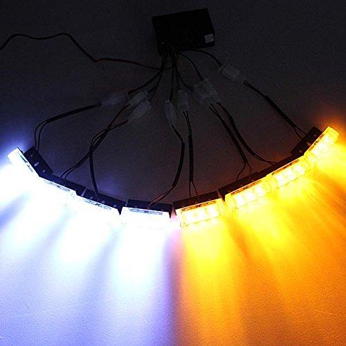 ILS - 24LED Flash Amber White Car Emergency Light 8 Bars Warning Strobe Lamp