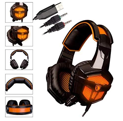 Preisvergleich Produktbild MOIMK PC-Gaming-Headset,  Stereo-Surround-Gaming-Kopfhörer,  Soft-Memory-Ohrmuffs,  Noise-Abbrechen,  Mikrofon & USB-LED-Licht,  Für PS4,  Xbox One,  PC,  Nintendo Switch