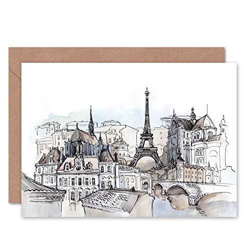 FINE ART PRINTS France Ink Drawing Paris Greeting Card with Envelope Inside Premium Quality Frankreich Zeichnung - Fine Art Ink