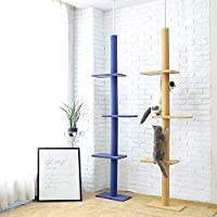 Árboles para Gatos Piso a Techo 230-286cm Ajustable Rascador de Actvidades con Poste para Gato Juguetes para Mascotas
