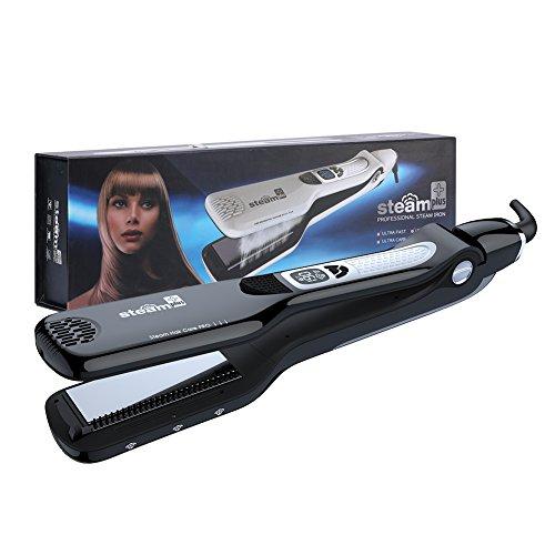Professionnel Lisseur à Cheveux en Céramique Tourmaline Fer à Lisser en Vapeur LCD Température contrôlé Outil de Coiffure (Noir)