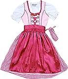 Aufwändiges Baumwoll Kinderdirndl Lora 3tlg. Komplett-Set, Größen:104;Farbe:rose - barolo
