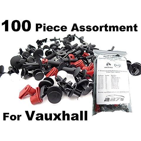 100 x Vauxhall / Opel Remaches Plásticos - Clip plástico Surtido KIT- Clips comunes para Vauxhall Coches - Coche