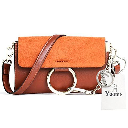Yoome Upscale Flap Tasche Circular Ring Vintage Taschen Für Frauen Mini Handtaschen Für Teens Umschlag Tasche - Grau Braun