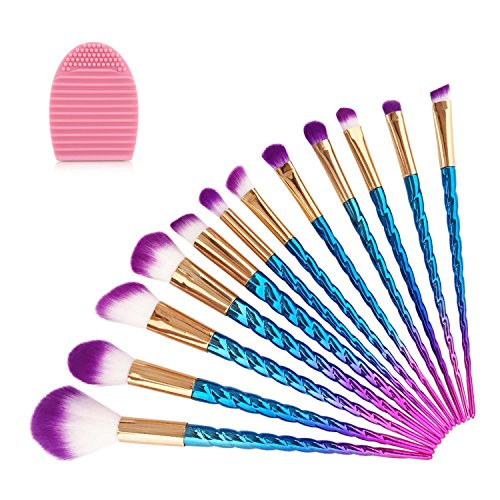 Make-up Pinsel Set, LURICO 12 PCS Professional Make up Kosmetik Pinsel Set Einhorn Griff Foundation Blending Blush Augenschatten Face Contour Concealer Make-up-Tools und Silikon Pinsel Reiniger