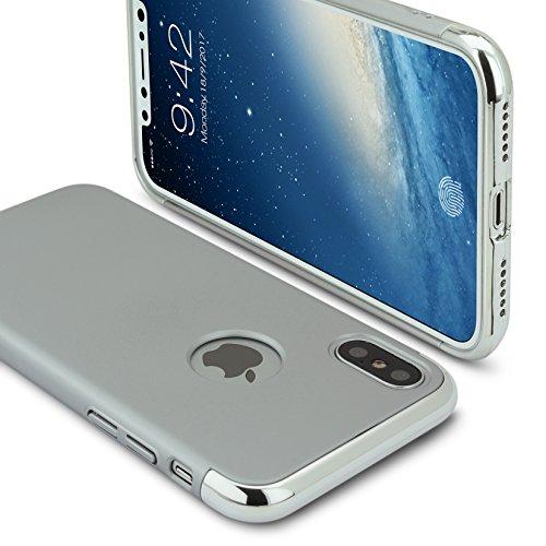Apple iPhone X Schutzhülle(5.8 Inch)3 in 1 Stoß- ultradünne harte Schutzhülle für iPhone X Stoßstange hintergrund beschützen(silbrig) silbrig