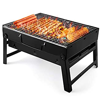 UTTORA Barbecue Grill, Portable Folding Charcoal Barbecue Desk Tabletop Outdoor Stainless Steel Smoker BBQ for Picnic Garden Terrace Camping Travel 15.35''x11.41''x2.95''