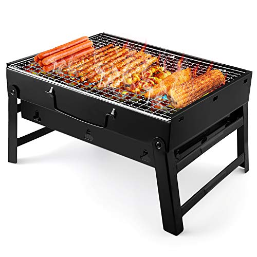 51x1p5dlIWL. SS500  - UTTORA Barbecue Grill, Portable Folding Charcoal Barbecue Desk Tabletop Outdoor Stainless Steel Smoker BBQ for Picnic Garden Terrace Camping Travel (14.96''x10.62''x7.87'')
