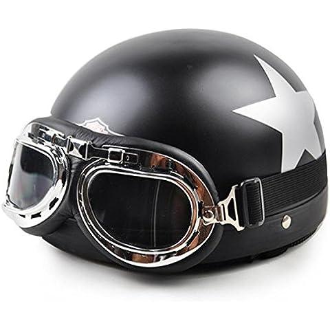 premiercor (TM) 2016Nuevo estilo Vintage abierto rápido casco cara mitad motocicleta casco gafas para moto + visera negro mate Star Capacete