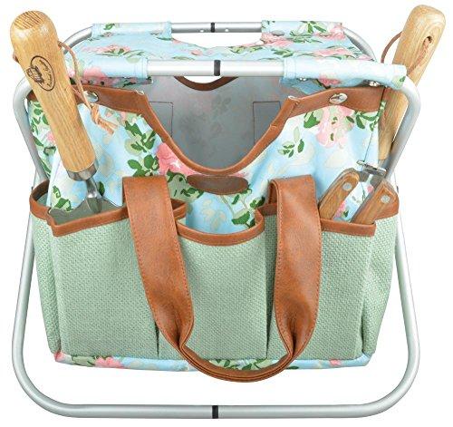 Esschert Design Jute Gartengerätestuhl mit Rosendruck, 40 x 31 x 31 cm, mit zahlreichen Taschen, klappbar, mit Trageschlaufe