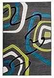 Tapiso Sumatra Teppich Kurzflor Modern 3D Effekt Abstrakt Wellen Muster Grau Grün Blau Jugendzimmer Wohnzimmer Schlafzimmer ÖKOTEX 120 x 170 cm
