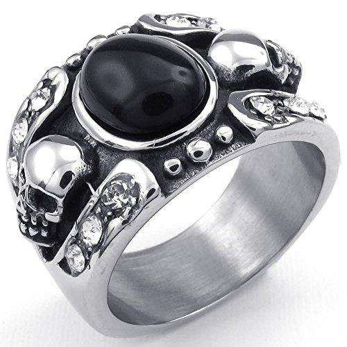 KONOV-Joyera-Anillo-de-hombre-Gtico-Calavera-Crneo-Acero-inoxidable-Color-negro-plata-con-bolsa-de-regalo