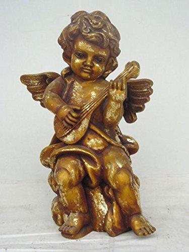 Engel stehend mit Gitarre verkleinert 57cm für draußen aus Polyresin (Lackierte Gitarre)