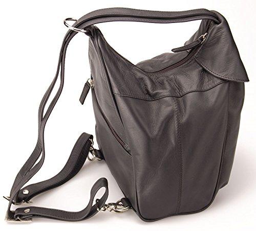 Visconti borsa/zaino donna in vera pelle singola tasca anteriore con cerniera - 01721 Nero