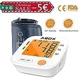ABOX Tensiómetro de Brazo Digital, 2 x 90 memoria y 22-42cm largo manguito de preciso resultado con detección del pulso arrítmico, 2 modos de alimentación para fácil uso, Certifica FDA CE
