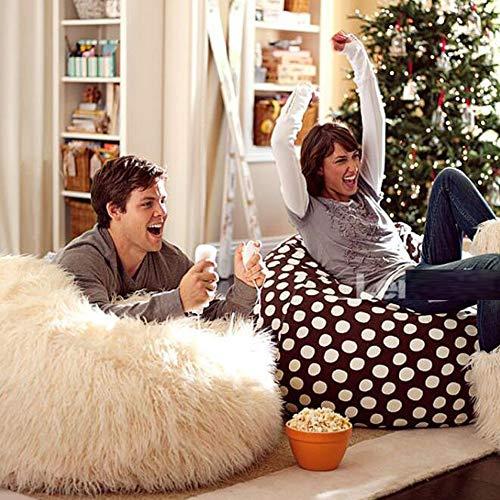 JKYQ Mouton Laine Haricot Sac d'hiver Lounger Sofa de Haute qualité particule Remplissage Jardin Chaise de Salon pour Les Enfants Adultes Blanc 80CM