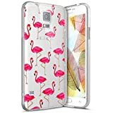 kompatibel mit Galaxy S5 Hülle,Crystal Clear Transparent Handyhülle TPU Silikon Backcover Case Rosa Flamingo Muster Schutz HandyHülle Tasche Hülle für Galaxy S5