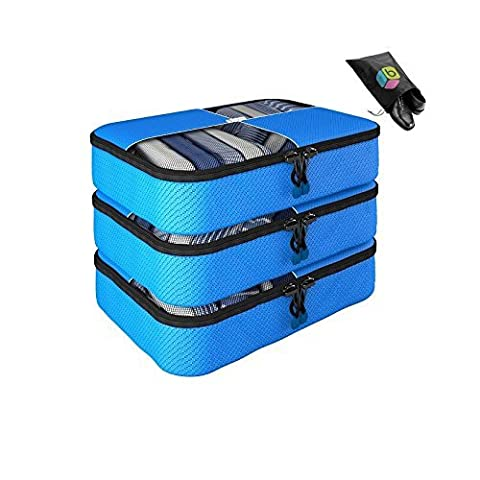 Packing Cubes ONE WEEK GIVEAWAY SALE - 4 pc Value Set Luggage Organizer - 3 Medium + Bonus Shoe Bag Included - Lifetime Guarantee - By Bingonia Travel Accessories (Green) (blue)