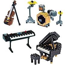 SainSmart Jr. 4 Pack diamante Nano Blocchi strumento musicale elettronico Organo Violino Pianoforte Jazz Tamburo Mattoni fai da te Micro giocattoli educativi