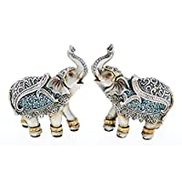 BEAUTIFUL PAIR OF COLLECTABLE MINI STEEL BLUE ELEPHANTS NEW & BOXED ELEPHANT