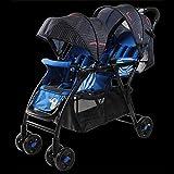 LZTET Twins Kinderwagen Tragbarer Wagen Doppelter Reisesystem Leichter Kinderwagen Mit 2 Sitzen Für Alle Jahreszeiten,Blue