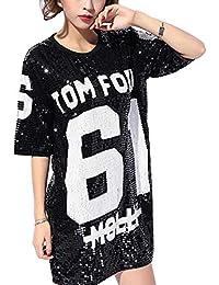 JLTPH Mujeres Lentejuelas Sueltas Casual Camiseta Patrón Digital Trajes de  Discoteca Jazz Hip Hop Traje de 491555b19b6