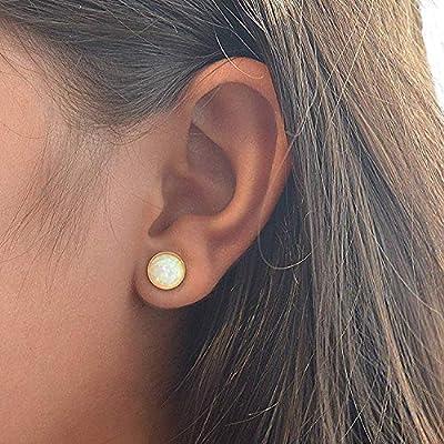 Boucle d'Oreille En Or Femme Bijoux Gold Round Opal Earrings, Fait Main Birthstone for Women (8 mm)