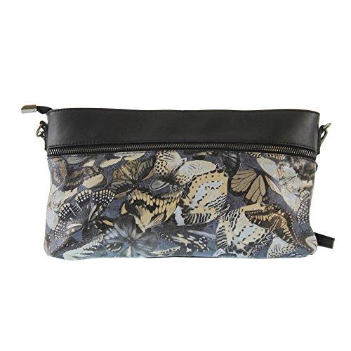 Chicca Tutto Moda CTM L'embrayage de la femme, petit sac à bandoulière en cuir véritable italien fabriqué en Italie, le papillon des motifs 29x18.5x5 Cm